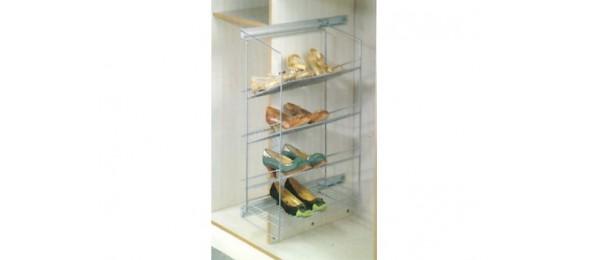 Выкатная корзина для обуви боковая 4 секции